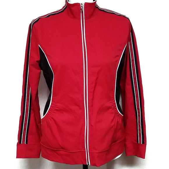 Saint John's Bay Active Jackets & Blazers - Saint John's Bay Red Black Lightweight Jacket